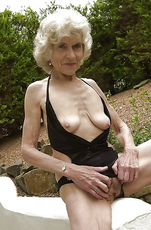 Skinny Granny Shows Her Tiny Hangers