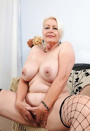 grandmother in underwear show her pierced nipples