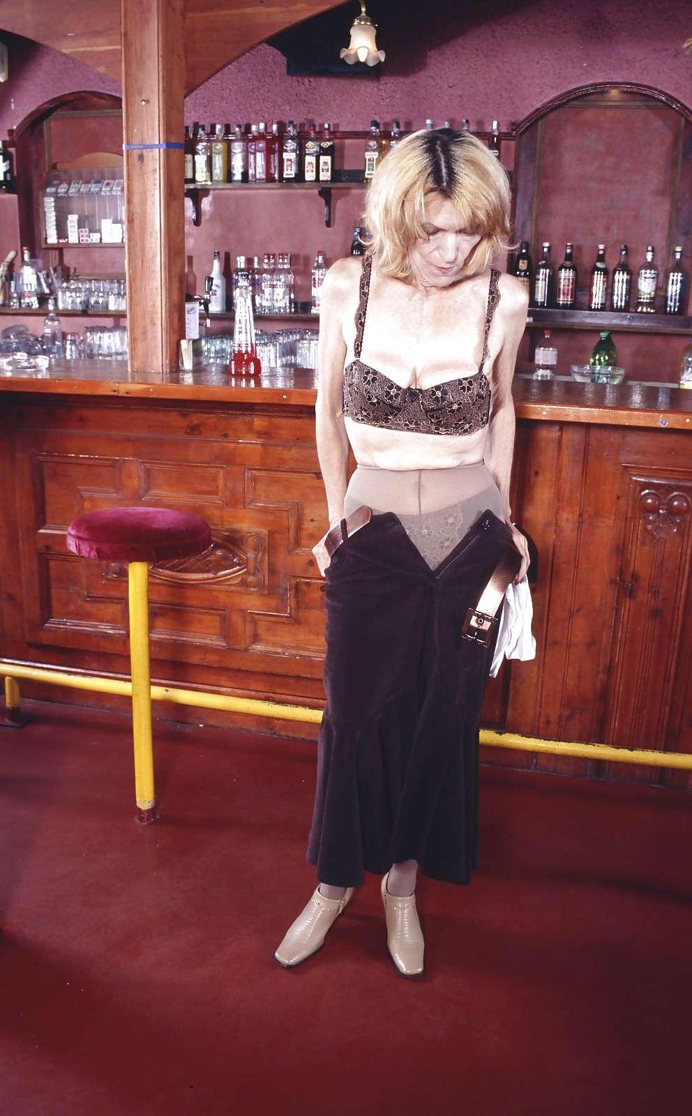 Skinny Hungarian Granny Pira in the bar, Hot Granny Pussy